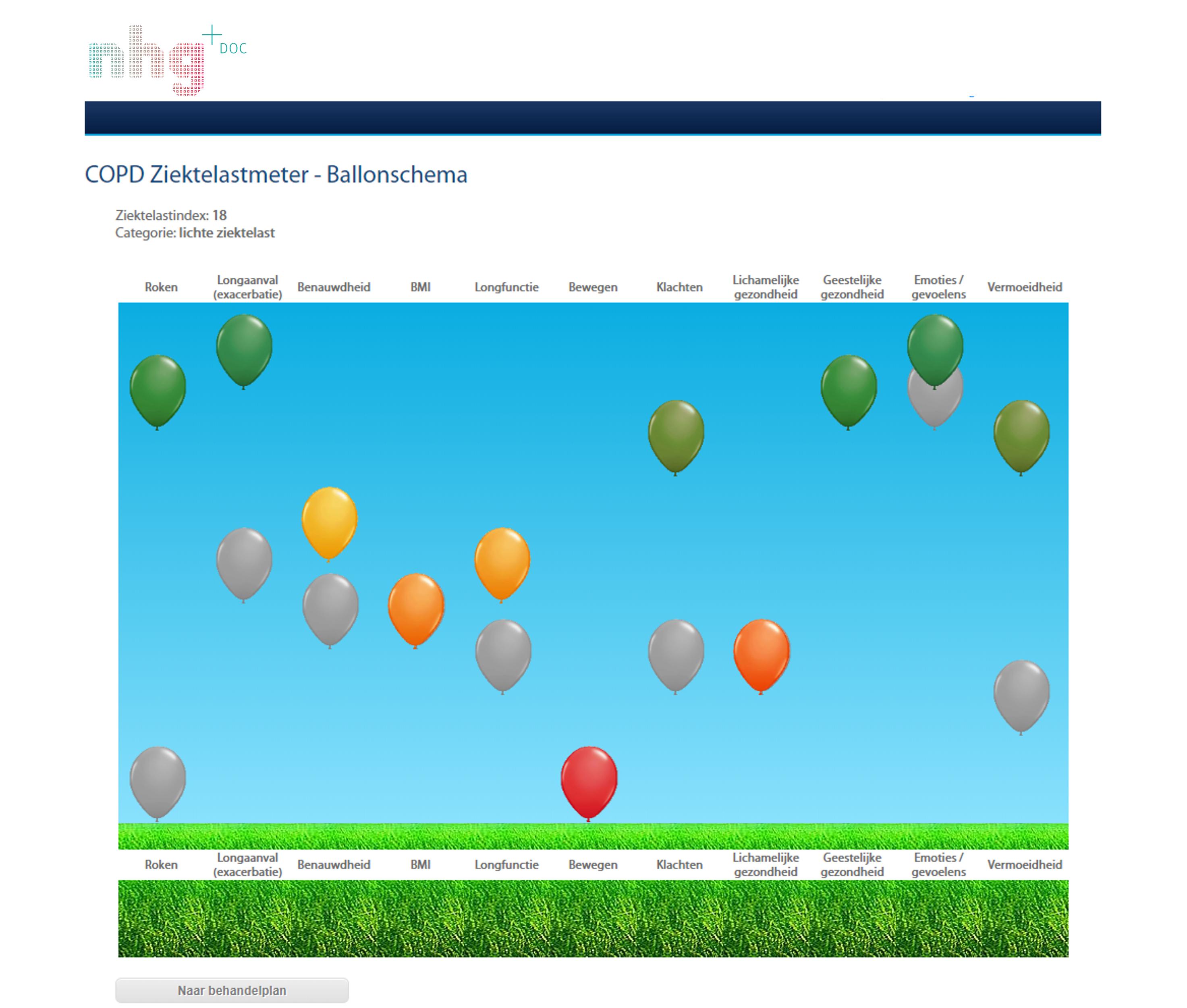 Ballonschema COPD ziektelastmeter in NHGDoc
